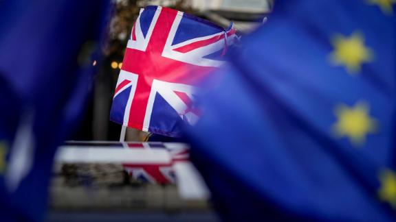 A picture taken on January 30, 2020 shows a Union Jack during a protest against Brexit near the European Parliament in Brussels. - Britain