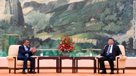 World Health Organization director general Tedros Adhanom Ghebreyesus attends a meeting with Chinese President Xi Jinping in Beijing on January 28, 2020.