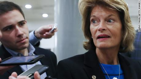 Sen. Lisa Murkowski (R-AK) speaks to reporters as she arrives for the continuation of the Senate impeachment trial of President Donald Trump at the U.S. Capitol on January 29, 2020 in Washington, DC. The next phase of the trial, in which senators will be allowed to ask written questions, will extend into tomorrow. (Photo by Mario Tama/Getty Images)