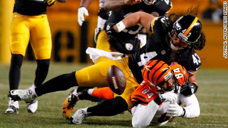 Safety Troy Polamalu strips the ball from Bengals tight end Jermaine Gresham on December 15, 2013.