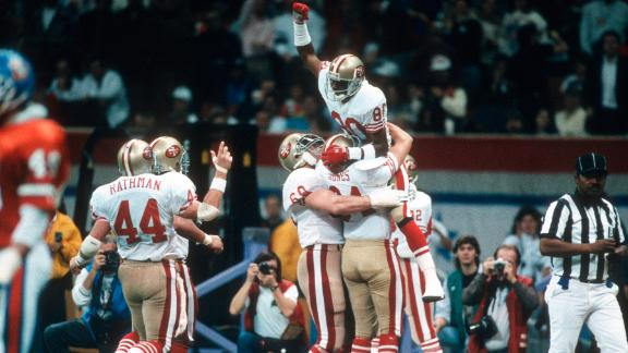Largest margin of victory in a Super Bowl: San Francisco demolished Denver 55-10 in 1990, winning by a record 45 points. It was the 49ers' fourth Super Bowl title in nine years.