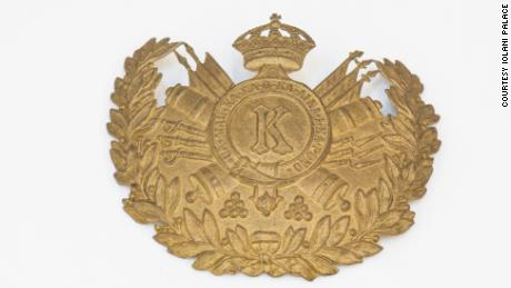 The helmet plaque from the Prince's Own, a volunteer uniformed artillery unit.