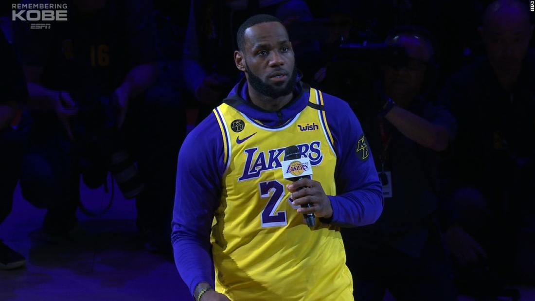 Hear LeBron James' emotional tribute to Kobe Bryant
