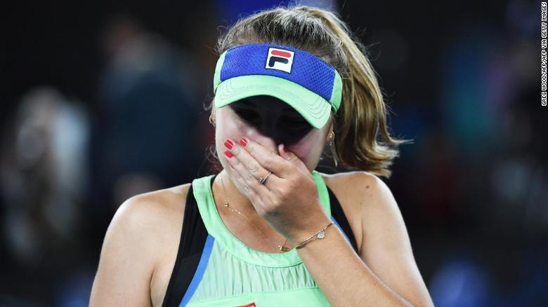 Kenin celebrates after victory in the Australian Open final.