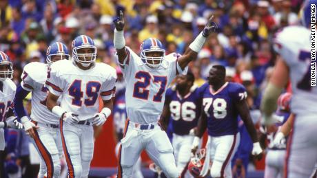 Steve Atwater celebrates a Broncos touchdown against the Buffalo Bills on September 30, 1990.