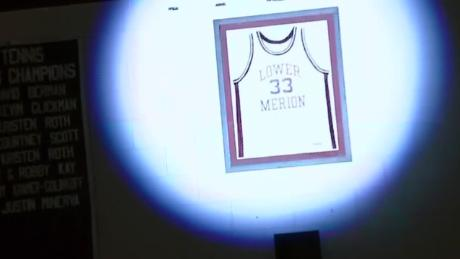 Kobe Bryant's jersey is hanging again over the court where he played his high school basketball.