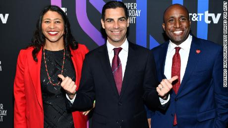 From left: Mayor of San Francisco London Breed, Mayor of Miami Francis X. Suarez and Mayor of Kansas City Quinton Lucas