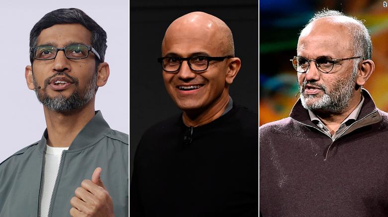 From left, Sundar Pichai, Satya Narayana Nadella and Shantanu Narayen