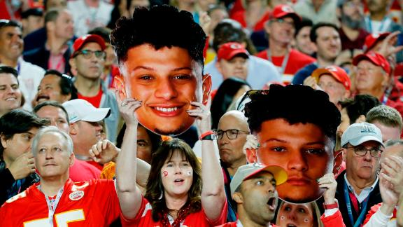 Chiefs fans cheer on Mahomes in the first half.