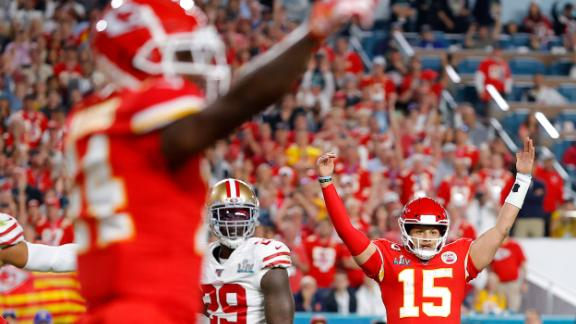 Mahomes and the Chiefs celebrate his early touchdown.