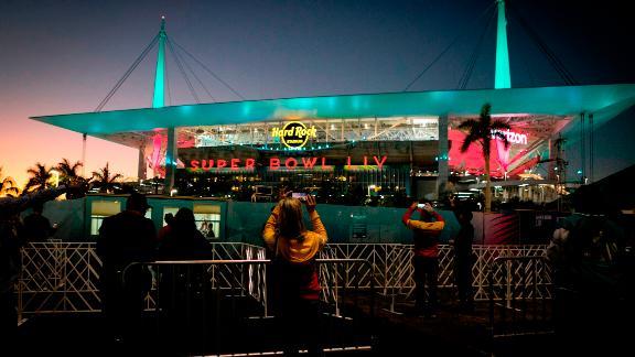Fans are seen outside Hard Rock Stadium.