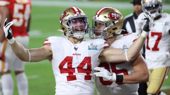 Juszczyk celebrates his touchdown catch.