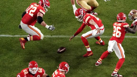 Mahomes looks for the ball after it was knocked out of his hands in the second half.