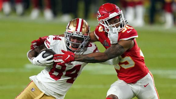 49ers wide receiver Kendrick Bourne is tackled by Chiefs cornerback Charvarius Ward in the third quarter.