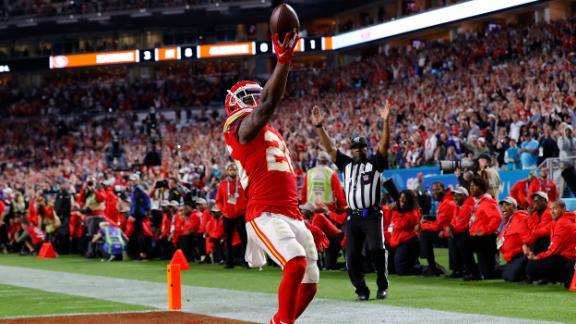 Kansas City running back Damien Williams celebrates his long touchdown run that put the final flourish on the Chiefs
