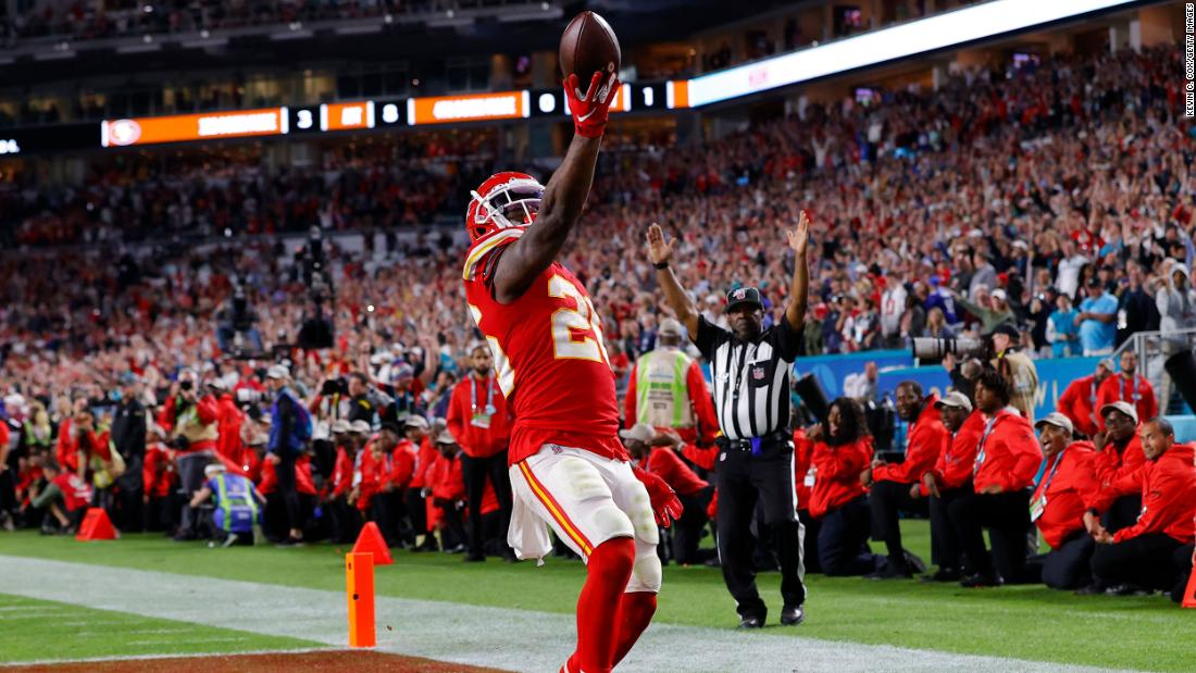 Kansas City running back Damien Williams celebrates his long touchdown run that put the final flourish on the Chiefs' victory.