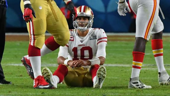 Garoppolo reacts after being sacked late in the game.