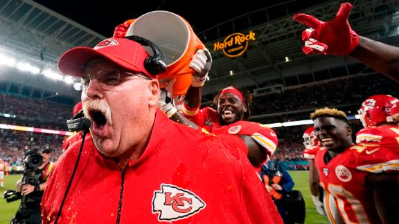 Kansas City Chiefs head coach Andy Reid reacts after being doused with Gatorade at the end of the game. This is Reid