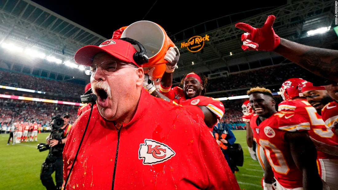 Kansas City Chiefs head coach Andy Reid reacts after being doused with Gatorade at the end of the game. This is Reid's first Super Bowl title as a head coach.