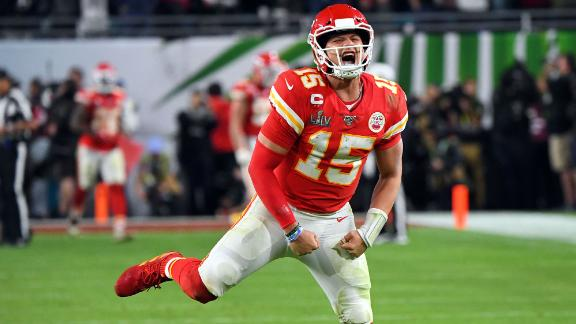 Mahomes celebrates a late touchdown.