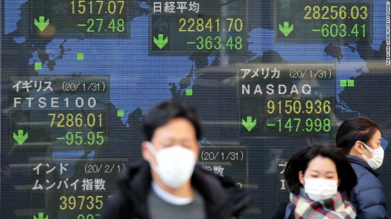 "Commuters in Tokyo walk past an electric board displaying dismal stock prices on February 3, the first business day after the Chinese New Year. Asia's markets recorded their <a href=""https://www.cnn.com/2020/02/02/investing/china-markets-coronavirus/index.html"" target=""_blank"">worst day in years</a> as investors finally got a chance to react to the worsening coronavirus outbreak."