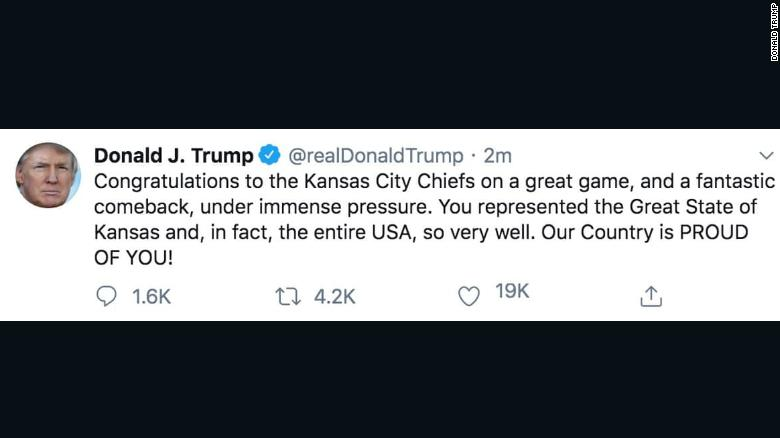 Trump's original tweet was quickly deleted, but not before it was shared widely.