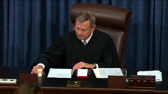 Roberts ends the impeachment trial after Trump was acquitted.