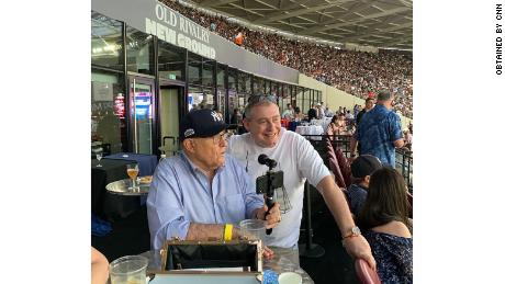 Rudy Giuliani and Lev Parnas at a New York Yankees game in London in June 2019