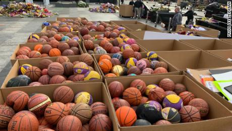 Some of the 1,353 basketballs left outside the Staples Center in Los Angeles as a tribute to Kobe Bryant.