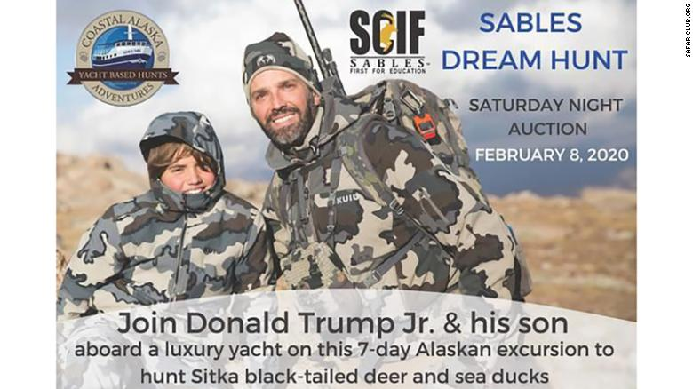 An advert for the hunt with Donald Trump Jr.