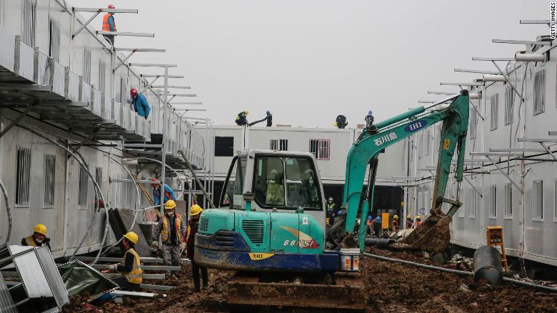 Construction of Huoshenshan hospital.