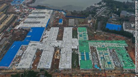 An aerial shot of Huoshenshan Hospital during construction.