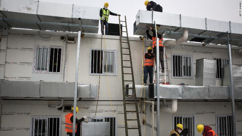Thousands of workers worked day and night to complete the hospital in just 10 days.