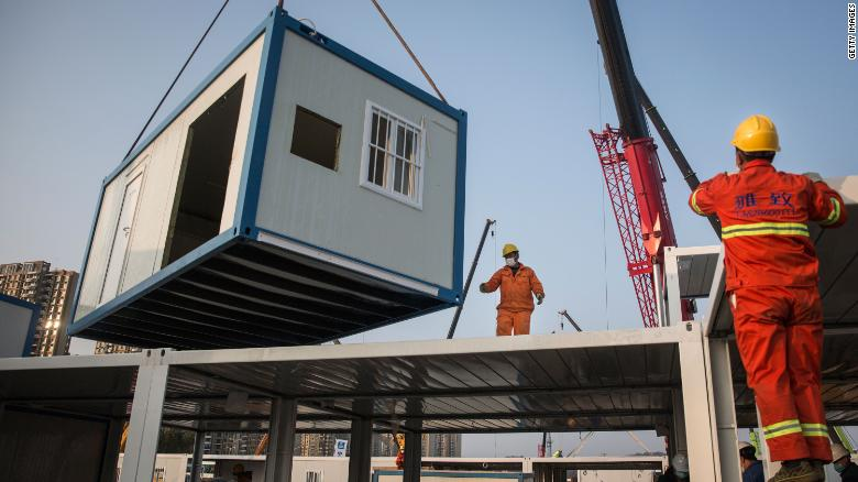 A prefabricated unit lifted into place during the construction of Huoshenshan Hospital.