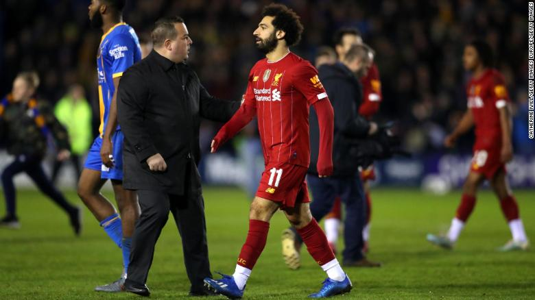 Mo Salah leaves the pitch following Liverpool's 2-2 draw with Shrewbury.