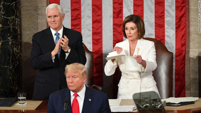 US House of Representatives Speaker Nancy Pelosi rips up a copy of President Trump's speech after he delivers the State of the Union address on February 4, 2020.