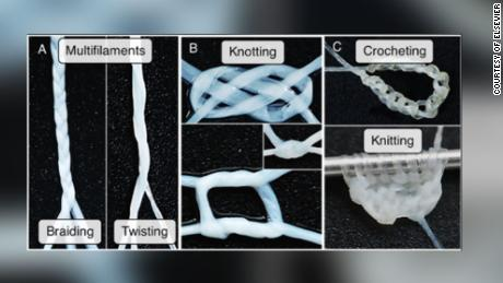 Photos from the study show how the yarn can be manipulated.