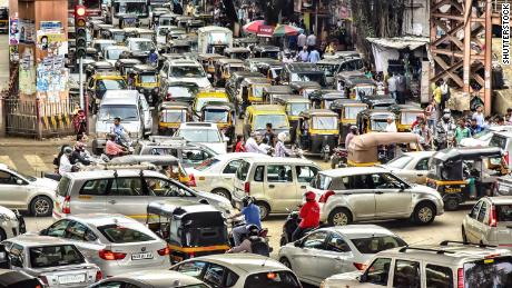 A  traffic jam in Mumbai, where police are fighting back against noisy car horns.