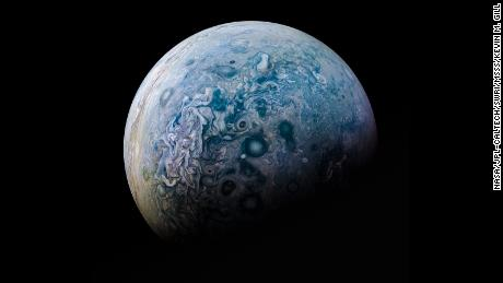A composite image of Jupiter's north pole taken by JunoCame in 2016 and processed by citizen scientist Kevin Gill.