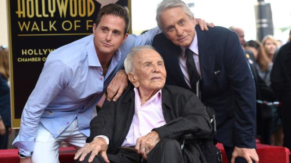 Three generations of Douglas actors — from left, Cameron, Kirk and Michael —pose for a photo as Michael received a star on the Hollywood Walk of Fame in 2018.