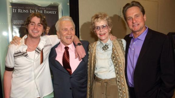 "Douglas appears with his first wife, Diana, son Michael and grandson Cameron Douglas at a special screening of ""It Runs in the Family"" in Los Angeles. All four actors starred in the 2003 film."