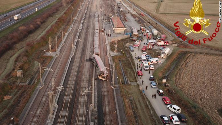 Italian authorities said the train derailed early on Thursday morning.