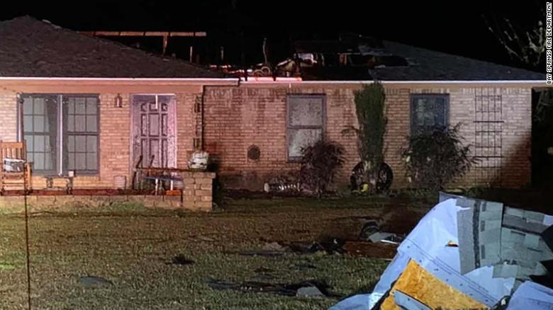 A house was severely damaged by a tornado Thursday near Bay Springs, Mississippi.