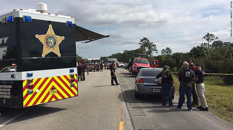 Several law enforcement agencies responded to the highway slaying.