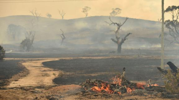 A bushfire burns near the town of Bumbalong, south of Canberra on February 2.