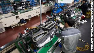 A file photo of a Hyundai factory in Asan, South Chungcheong, South Korea. Hyundai has had to shut its factories there due to the lack of parts from Chinese suppliers caused by the coronavirus crisis.