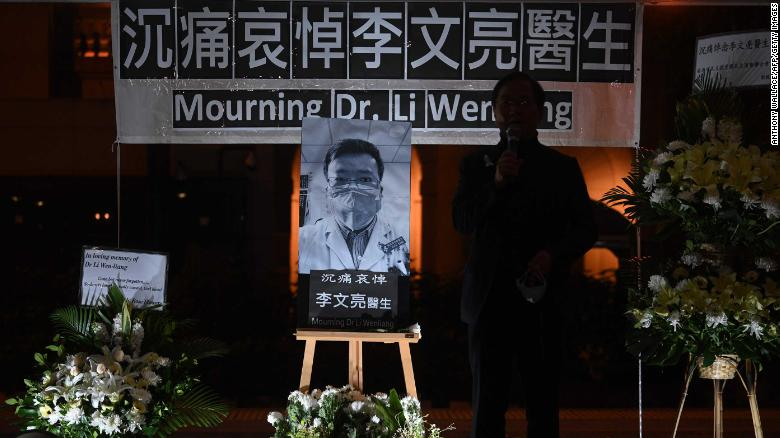 "People in Hong Kong attend a vigil February 7 for <a href=""https://edition.cnn.com/2020/02/07/asia/china-doctor-death-censorship-intl-hnk/index.html"" target=""_blank"">whistleblower doctor Li Wenliang. </a>Li, 34, died in Wuhan after contracting the virus while treating a patient."