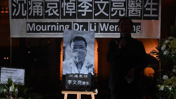 """People in Hong Kong attend a vigil February 7 for <a href=""""https://edition.cnn.com/2020/02/07/asia/china-doctor-death-censorship-intl-hnk/index.html"""" target=""""_blank"""">whistleblower doctor Li Wenliang. </a>Li, 34, died in Wuhan after contracting the virus while treating a patient."""