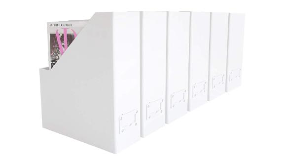 Blu Monaco Foldable White Magazine File Holder