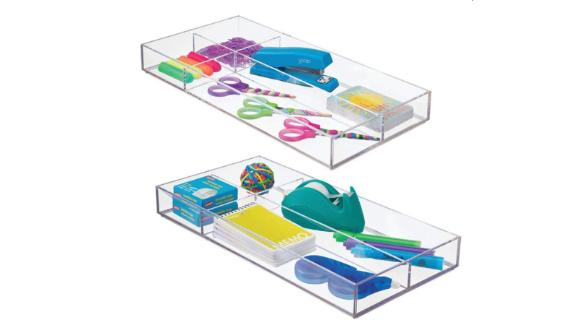 mDesign Plastic Divided Drawer Organizer